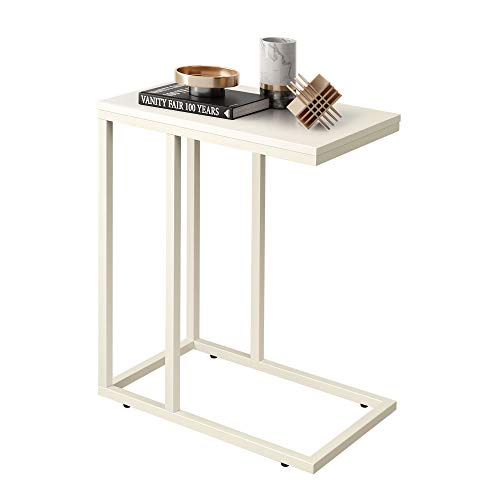 WLIVE Snack Side Table, C Shaped End Table for Sofa Couch and Bed, White