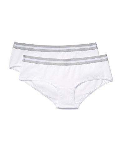 Amazon-Marke: Iris & Lilly Damen sportlicher Hipster aus Baumwolle, 2er-Pack, Weiß (White/Grey), XL, Label: XL