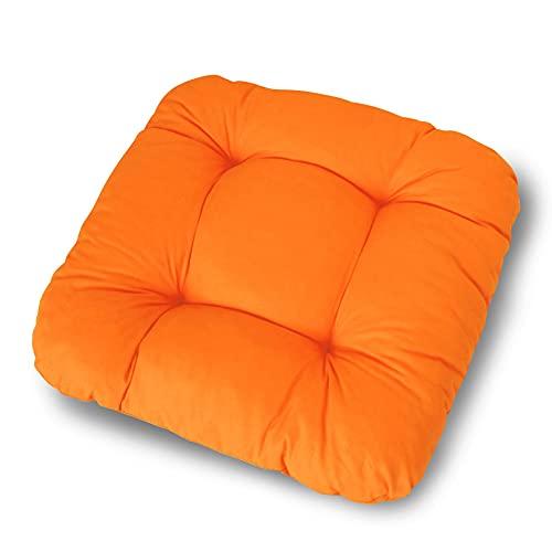 LILENO HOME 1er Set Stuhlkissen Orange (38x38x8 cm) - Sitzkissen für Gartenstuhl, Küche oder Esszimmerstuhl - Bequeme UV-beständige Indoor u. Outdoor Stuhlauflage als Stuhl Kissen