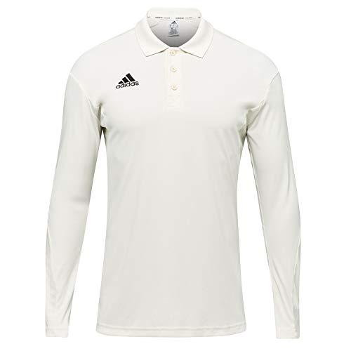 adidas Howzat Langarm-Poloshirt für Kinder, Cricket, Weiß Gr. 11-12 Jahre, weiß