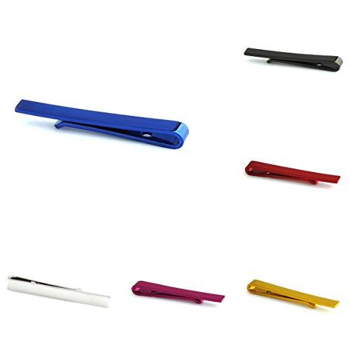 Cifidet Pinces à cravate (Taille 43 x 5 mm) Ensemble de 6 pièces (1 pièce de chaque couleur) Bijoux tendance pour hommes livrés avec boîte cadeau