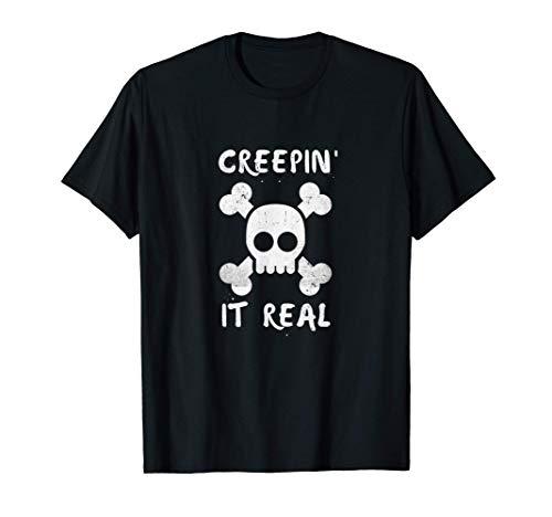 Halloween Pun Creepin It Real Retro Angustiado Divertido Camiseta