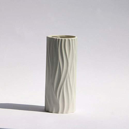 ZTGZMH Decoración Adorno Florero de cerámica Europeo Oficina Accesorios para el hogar Decoración Vinoteca Adornos de cerámica de Escritorio Floreros Blancos Simples, L-20Cm