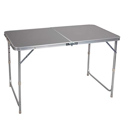 Lestarain CampingtischPicknicktisch GartentischBeistelltisch Klapptisch klappbar und höhenverstellbar, aus Aluminium MDFGrau