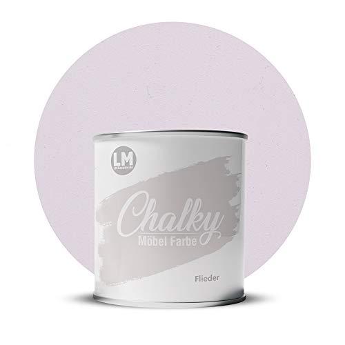 LM-Kreativ Chalky Möbelfarbe deckend 1 Liter / 1,35 kg (Flieder), matt finish In- & Outdoor Kreide-Farbe für Shabby-Chic, Vintage, Landhaus Stil