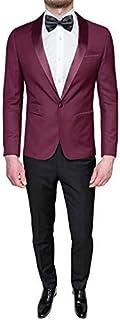 0d8b42f5bf825 FB CLASS Costume Homme Complet Sartoriale Bordeaux Noir Robe Satin Élégante  Cérémonie