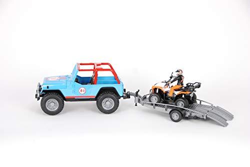 01696 Jeep Cross Country Racer blau, Fahrer, Anhänger und Quad