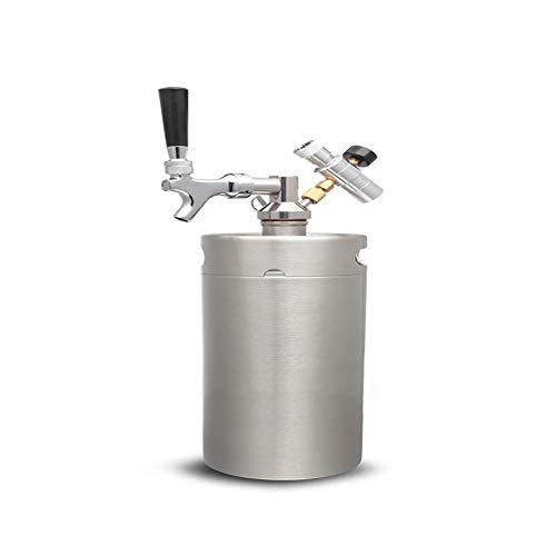 BAIVIT Mini Barril de Cerveza, Acero presurizada Growler Barril CO2 Cilindro Regulador, dispensador de contenedores Inicio Craft Cerveza de Barril,5L