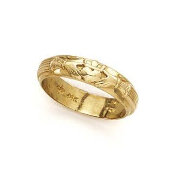 Herren-Ring 14 Karat Gelbgold, poliert, irischer Claddagh-Knoten, keltischer Dreifaltigkeitsknoten, Größe T 1/2, Schmuck, Geschenke für Männer