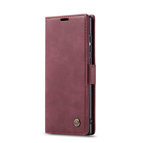 JMstore hülle kompatibel mit Samsung Galaxy Note10 Lite/M60s/A81, Leder Flip Schutzhülle Brieftasche Handyhülle mit Kreditkarten Standfunktion (Rot)