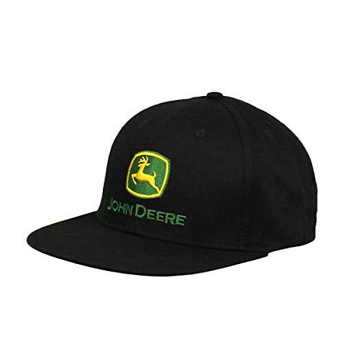 John Deere Tractors - Gorra con logo de sarga de algodón para hombre, color negro con logotipo clásico