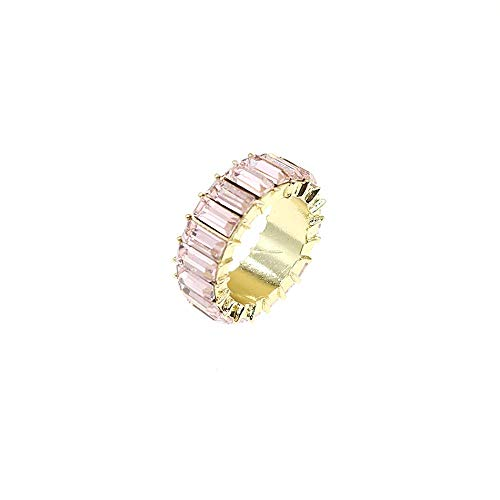 HSQYJ Rainbow Baguette Band Ring Eternity Band Cubic Zirconia Ring Gold Plated Fashion Luxury Jewelry Crystal Cocktail Rings for Women Girl Gift (Pink Crystal, 8)