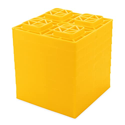Camco 44510 Heavy Duty Leveling Blocks, Ideal for Leveling Single and Dual Wheels, Hydraulic Jacks, Tongue Jacks and Tandem Axles (10 Pack, Frustration-Free Packaging)