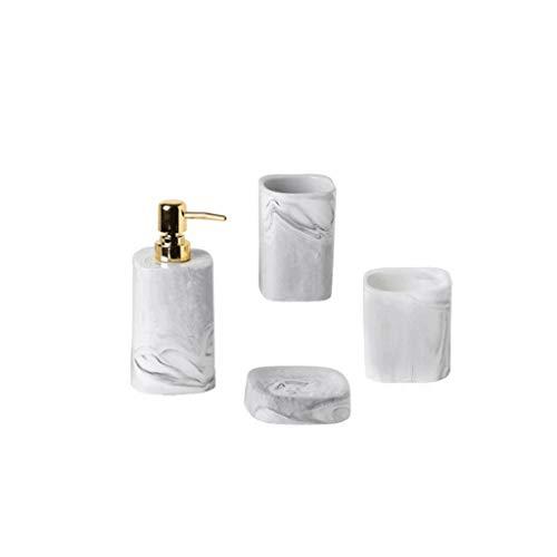 dispensador de jabón 4-set dispensador de jabón de cerámica con bomba de oro de acero inoxidable, jabonera, vaso, taza de almacenamiento, estante de aseo con cepillo de baño, 15,2 oz Regalo de cocina