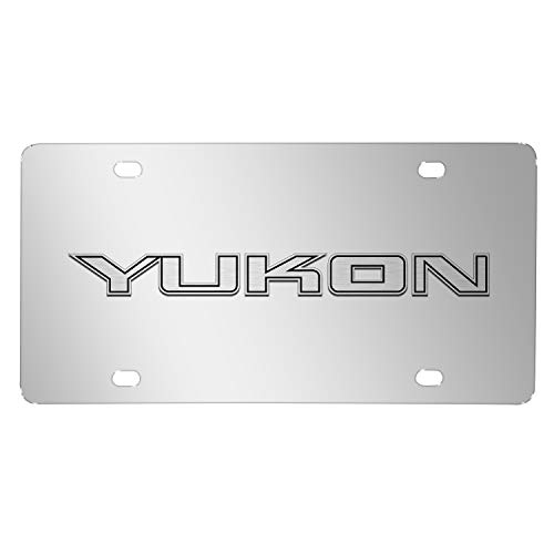 iPick Image for - GMC Yukon 3D Nameplate Mirror Chrome Stainless Steel License Plate