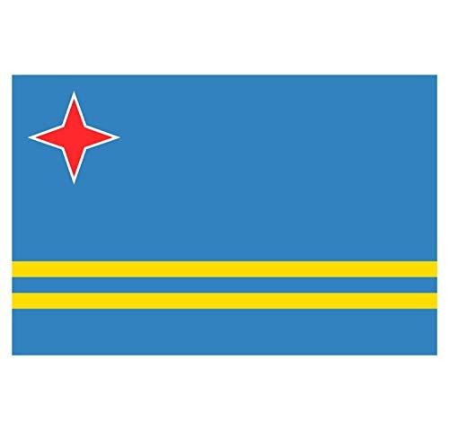 Supstick Aruba Nationale Vlag Stickers 15 x 10 cm