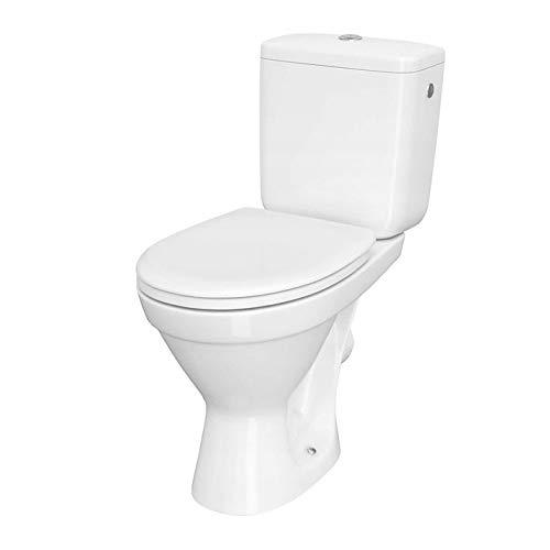 VBChome WC Toilette Stand Spülrandlos Keramik Komplett Set mit Spülkasten Funktion für waagerechten Abgang WC-Sitz aus Duroplast mit Absenkautomatik abnehmbar Deckel waagerecht Ablauf