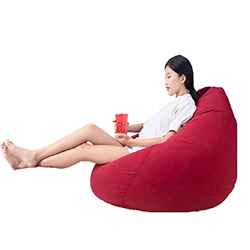 Soft Bean Bags Chairs For Kids, Teens, Adults - Fine Linenfabric Bag Chair - Dorm Room Comfy For Reading Game Meditating,Red,Extra Large