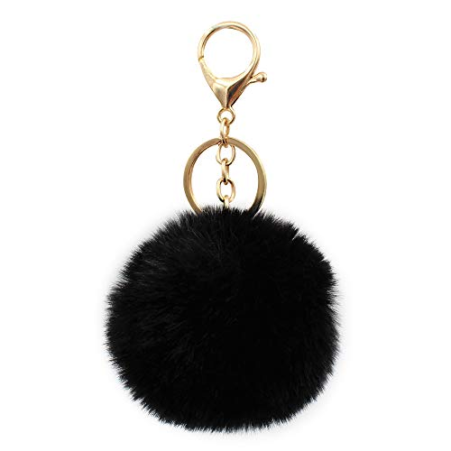REAL SIC Pom Pom Keychain - Faux Fur Fluffy Charm For Women & Girls. Fake Rabbit Key Ring for Backpacks, Purses, Bags or Gifts (black)