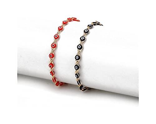 X/L 2 PCS Women Bracelet - Evil Eye Bracelet for Women Men Girls Stainless Steel Handmade Adjustable Amulet Evil Eyes Jewelry for Family Best Friends Gifts