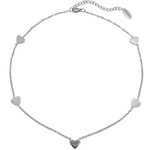 SUNIANA® - Choker Halskette | Herz Anhänger | mit 5 filigranen Herzen | Vergoldet | Edelstahl| Damen Kette in Rosegold, Silber oder Gold (Silber)