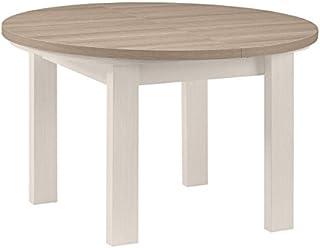 Tousmesmeubles Table de Repas Ronde à allonge Frêne Blanchi - Pompei - L 120/150 x l 120 x H 79 - Neuf