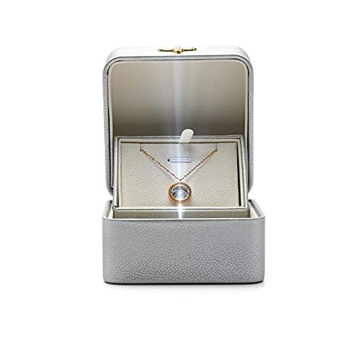 SMEJS Joyero Cajas de joyería de cuero PU Creativo LED Organizador luminoso Almacenamiento Caja de exhibición cuadrada Organizador interior de felpa Grandes regalos para niñas Mujeres 9.5 * 9.5 *