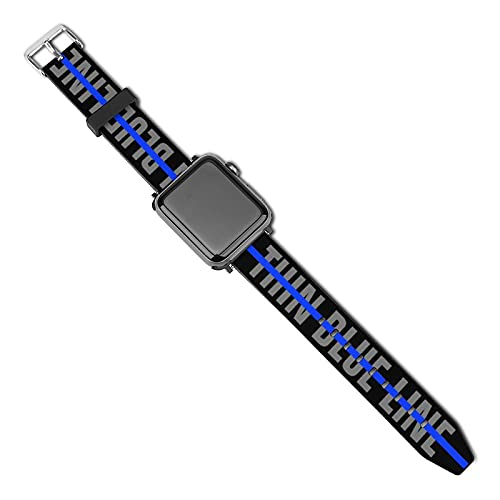 Thin Blue Line American Flag Law Enforcement Black Compatible with Apple Watch Sport Bands 38mm 40mm 42mm 44mm , iWatch 6 5 4 3 2 1 Series Leather Printed Strap Soft PU Watch Bands