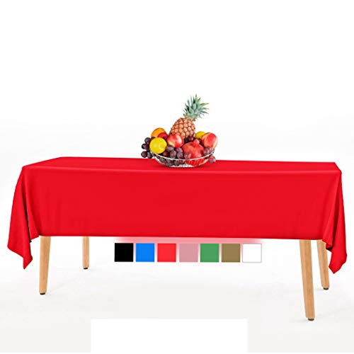 14 Pack Premium Disposable Red Plastic Tablecloth - 54 x 108 in. Rectangle Plastic Tablecloths - Colors. Red, Blue, Black, White, Green, Gold, Pink - Use for Indoor Or Outdoor.