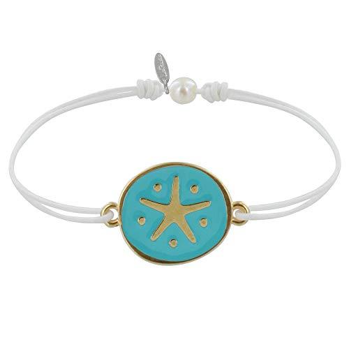 Joyas Les Poulettes - Pulsera Enlace Medalla Estrella de Latón Esmaltado Turquesa - Blanco