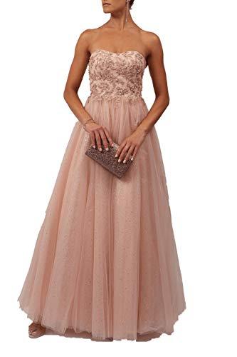 Mascara Pfirsich Mc11927 Trägerlose Tüll Prom Kleid 36