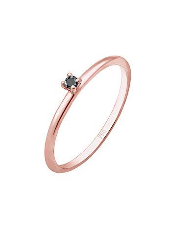 DIAMORE Ring Damen Solitär Schwarzer mit Diamant (0.02 ct) in 750 Roségold