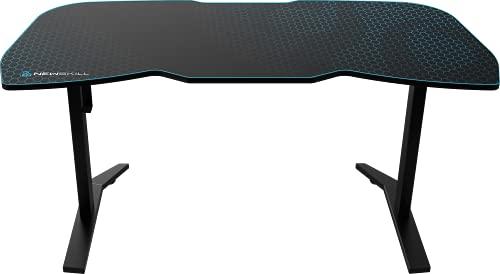 Newskill Tanaris RGB - Mesa Gaming Ergonómica con Superficie XXL Texturizada en Carbono (Incluye Colgador de Auriculares) - Color Negro