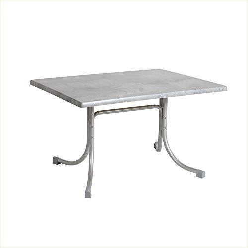 Acamp Gartentisch Boulevard   Balkontisch klappbar   Platin/Cemento Grigio   120x80x72 cm   Gestell aus wetterfest beschichtetem Stahl   mit Niveauausgleich   Tischplatte aus Topalit