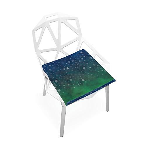 LORONA Blue Green Stars Nacht Stoel Kussens Memory Foam Pads voor Gezond Zitten thuis, Kantoor, Keuken, Rolstoel, Eten, Patio, Camping | Vierkant 16