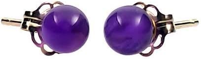 Trustmark 14K Yellow Gold 4mm Natural Purple Amethyst Ball Stud Post Earrings