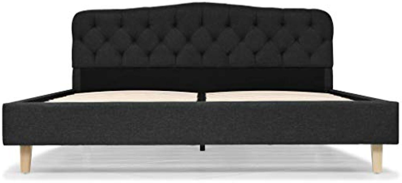 Tidyard- Doppelbett Polsterbett Stoff mit Lattenrost Schlafzimmerbett Bettgestell 160 x 200 cm Dunkelgrau