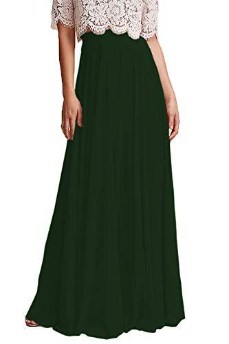 Omelas Women Long Floor Length Chiffon High Waist Skirt Maxi Bridesmaid Party Dress (Dark Green, M)