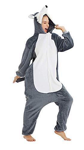 Re-Miss  Erwachsene Unisex Einhorn Tiger Lion Fox Onesie Tier Schlafanzug Cosplay Pyjamas Halloween Karneval Kostüm Loungewear, Wolf ,  M passt Höhe 155-165cm
