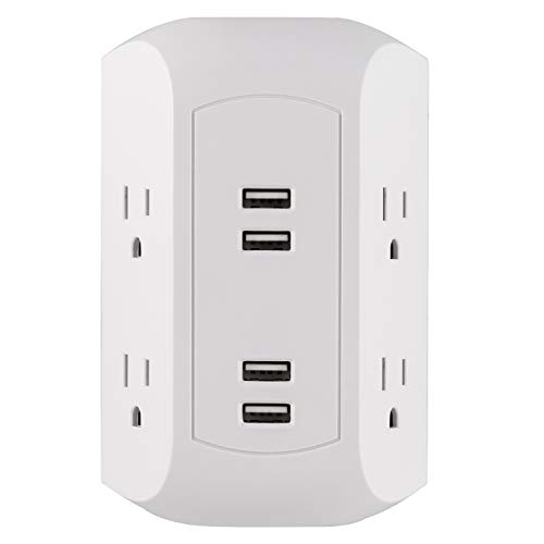 GE 4 Outlet, 4 USB Surge Protector Wall Outlet Power Adapter, for iPhone 11/Pro/Max/XS/XR/X/8, iPad Pro/Air/Mini, Samsung Galaxy, Google Pixel, White, 43651