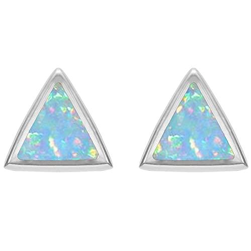 CaratYogi plata de ley 925 plata de ley Triangular ópalo sintético