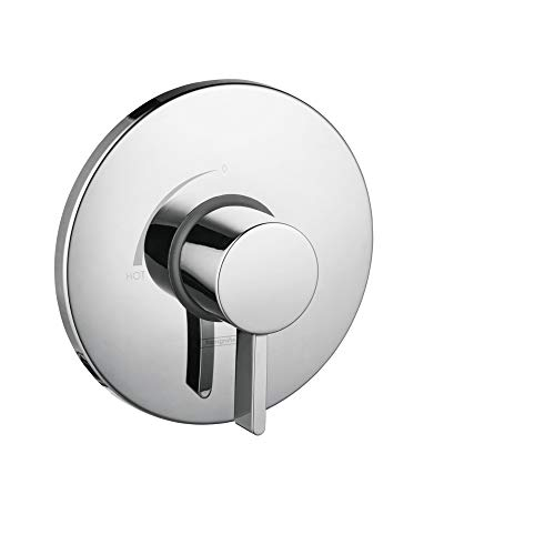 hansgrohe Ecostat Modern Minimalist Easy Control 1-Handle 7-inch Wide Pressure Balance Shower Valve Trim in Chrome, 04233000