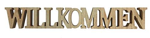 Unbekannt Schriftzug Buchstaben Schrift Holz Willkommen 60 x 9 x 2 cm Deko