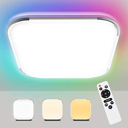 Hengda Led Deckenleuchte RGB Farbwechsel, 24W Dimmbar mit Fernbedienung, mit Nachtlicht, LED Deckenlampe für Schlafzimmer Kinderzimmer Wohnzimmer Küche, 2700K-6500K, IP44 Wasserdichte Badlampe