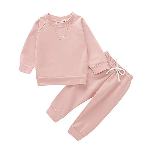 Newborn Boy Girl Solid Colors Clothes Pants Set Baby Kids Long Sleeve Tops Sweatsuit Set (Solid Pink, 2-3 Years)