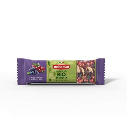 Noberasco Bio Barretta con Cranberry e Mirtilli Neri 30G - Barretta con frutta essiccata, frutta secca e semi, biologica- Cartoncino da 24  Barrette da 30g-Nuove fuori Buone come Sempre