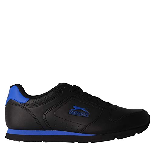 Slazenger Classic Herren Turnschuhe Leder Sneaker Sport Schuhe Schnuerschuhe Schwarz/Blau 42 EU