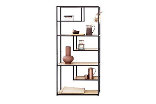 LIFA LIVING Libreria divisoria ambiente in legno e metallo per interni, Armadio da esposizione design con 7 ripiani aperti, Scaffale autoportante alto verticale, 82 x 34 x 175 cm