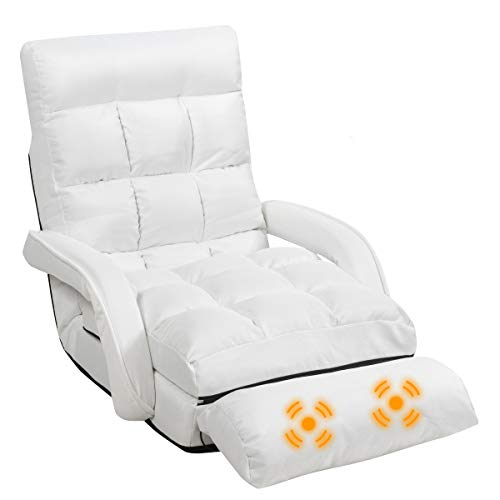 GOFLAME Adjustable Folding Massage Lazy Sofa, Floor Chair Sofa, Padded Gaming Chair with Armrests and Pillow, Lounger Bed for Home & Office (White)