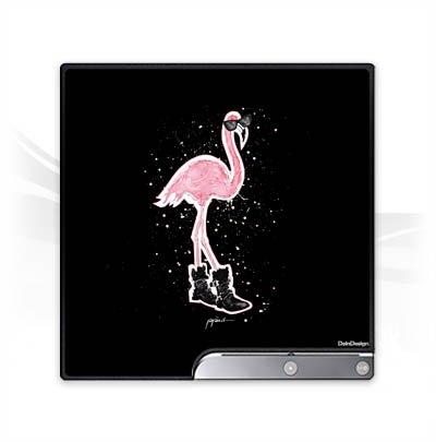 DeinDesign Skin kompatibel mit Sony Playstation 3 Slim CECH-2000-3000 Folie Sticker Sonnenbrille Flamingo Schuhe
